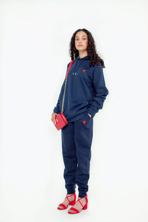 Navy Blue Sweatsuit with embroidery