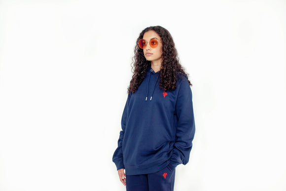 Navy Blue Hoody with embroidery
