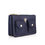 Side image royal blue POUCHI multifunctional fannypack and crossbody bag with mini pockets
