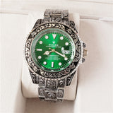 Rolex Oyster Perpetual Submariner Fully Hand Engraved Silver Luxury Men`s Watch