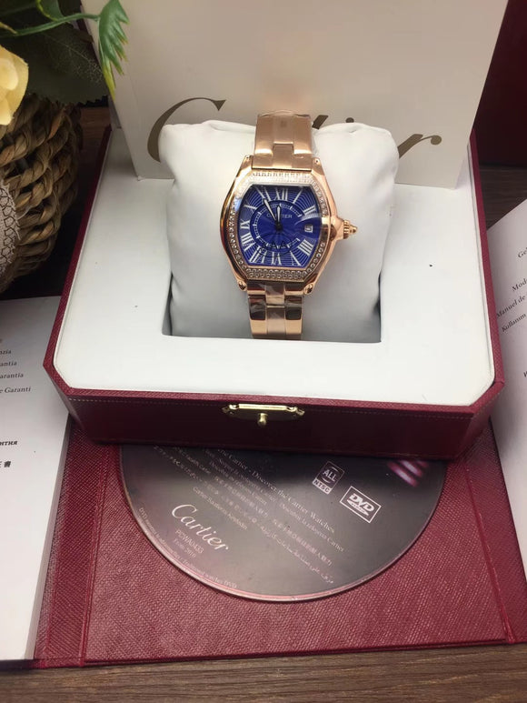 Cartier Roadster Diamonds Ladies Small Gold Luxury Woman Watch