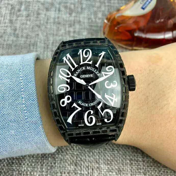Franck Muller Black Croco Black Leather Mechanical Luxury Men Watch