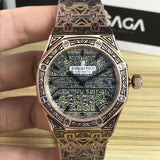Audemars Piguet ROYAL OAK Gold Mechanical Fully Hand Engraved Luxury Mens Watch