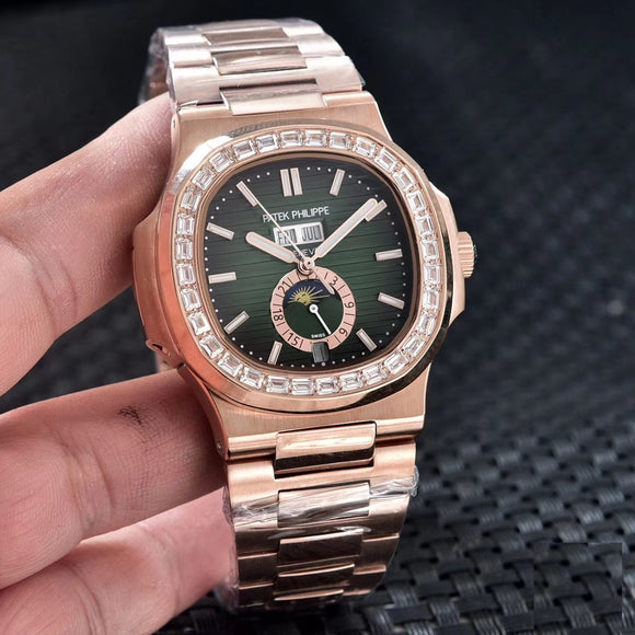 Patek Philippe Nautilus 5726/1A Diamonds Rose-Gold Luxury Men`s Watch