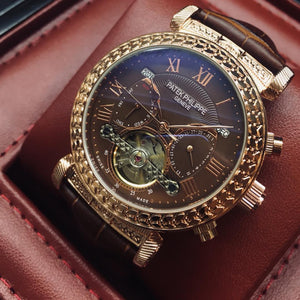 Patek Philippe Grand Master Chime Platinium Gold/Brown Tourbillon Luxury Men's Watch - My Watch Land