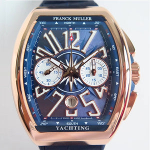 Franck Muller Vanguard Yachting 44 mm Automatic Self-Wind Gold/Blue Luxury Men's Watch - My Watch Land