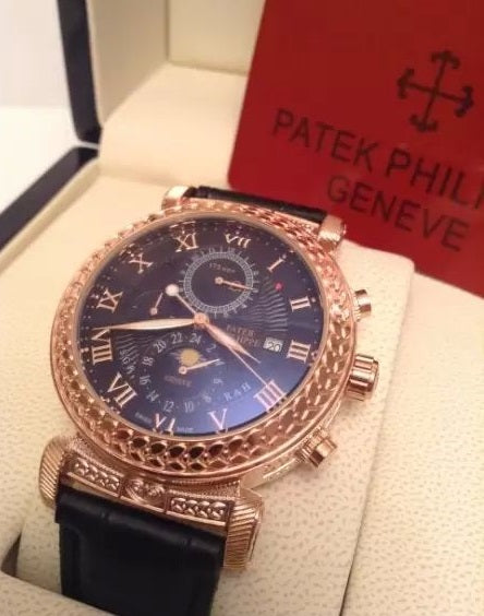 Patek Philippe Men's Luxury Grand Master Chime Gold Black Watch
