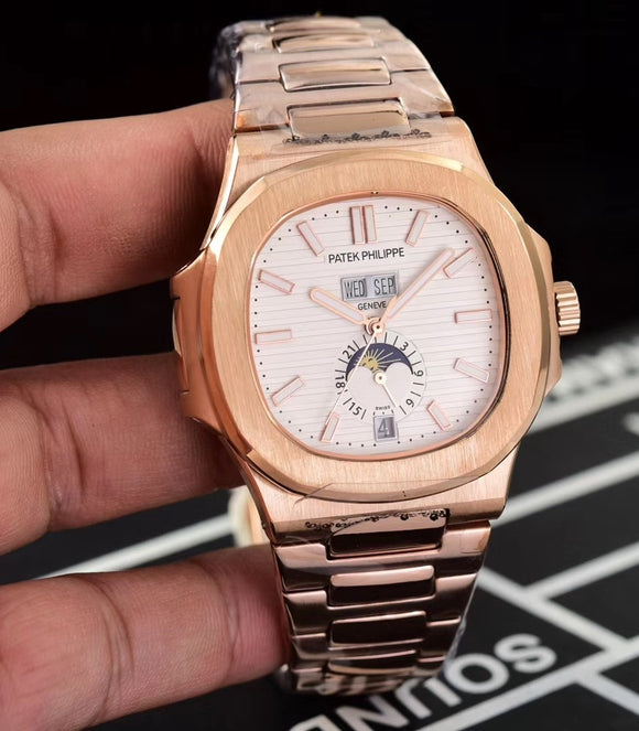 Patek Philippe Nautilus Gold/White Men's Luxury Watch
