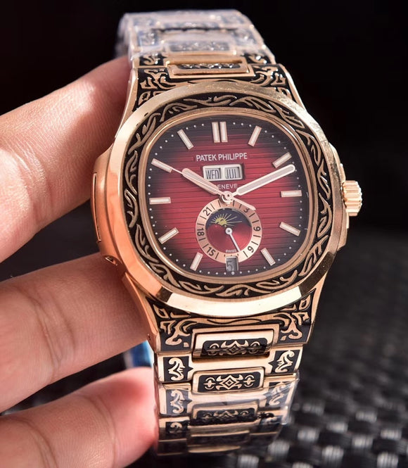 Patek Philippe Nautilus 5990 Fully Hand Engraved Automatic Rose/Gold Case Men's Watch - My Watch Land