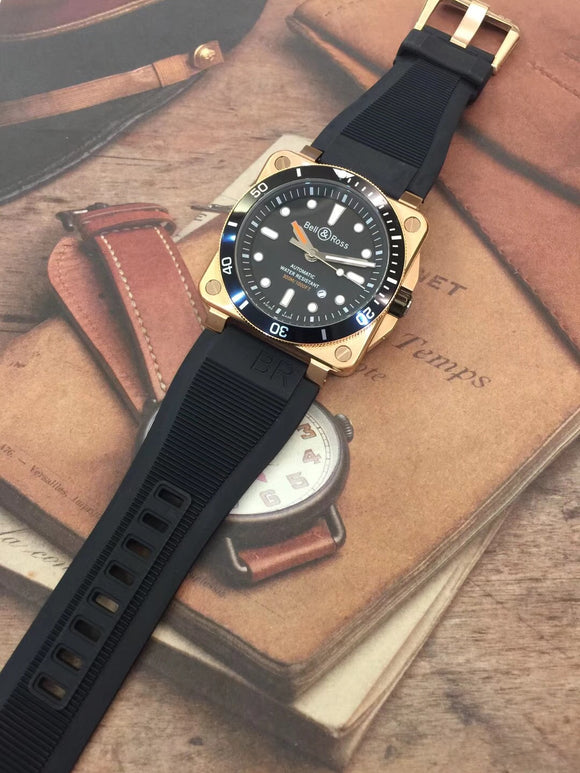BELL & ROSS BR 03-92 Diver Automatic Gold/Black Dial Men's Luxury Watch Rubber Band
