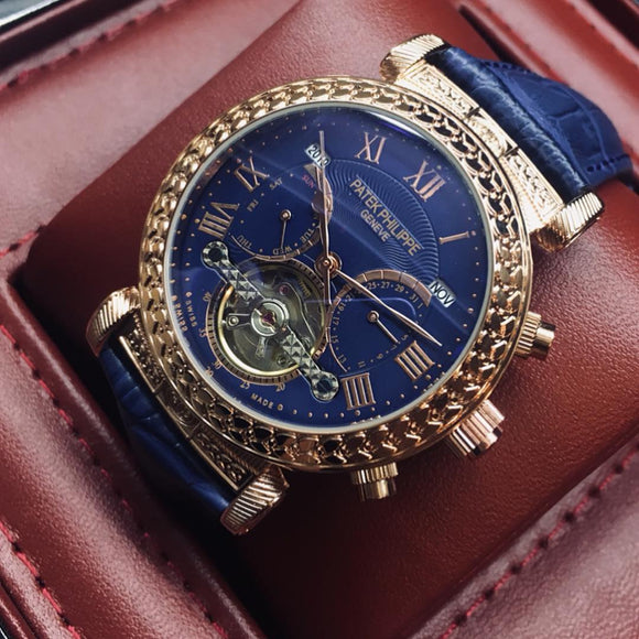 Patek Philippe Grand Master Chime Platinium Gold/Blue Tourbillon Luxury Men's Watch - My Watch Land