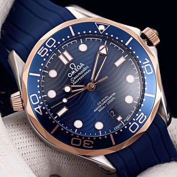 Omega Seamaster Automatic Blue Dial Rubber Strap Men's Watch - My Watch Land