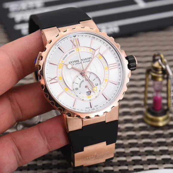Ulysse Nardin Marine Regatta Gold Quartz Luxury Men Watch