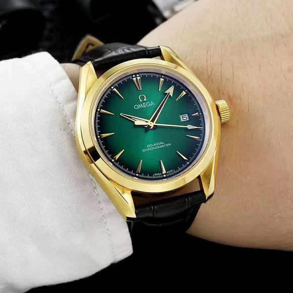 Omega Chronometer Co-Axial Escapement Green Luxury Men Watch
