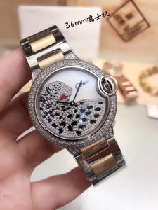 Cartier Ballon Bleu Leopard Midsize 36 mm Gold Diamonds Women Watch