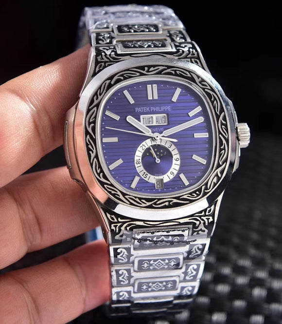 Patek Philippe Nautilus 5990 Fully Hand Engraved Automatic Silver Case Men's Watch - My Watch Land