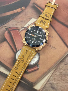 BELL & ROSS BR 03-92 Diver Automatic Gold/Black Dial Men's Luxury Watch Leather Band - My Watch Land