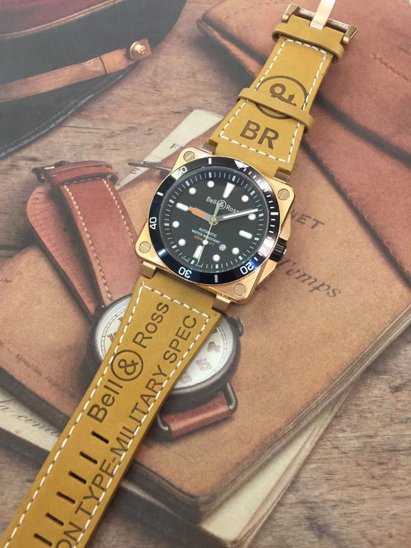 BELL & ROSS BR 03-92 Diver Automatic Gold/Black Dial Men's Luxury Watch Leather Band