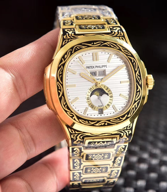 Patek Philippe Nautilus 5990 Fully Hand Engraved Automatic Gold Men's Watch - My Watch Land