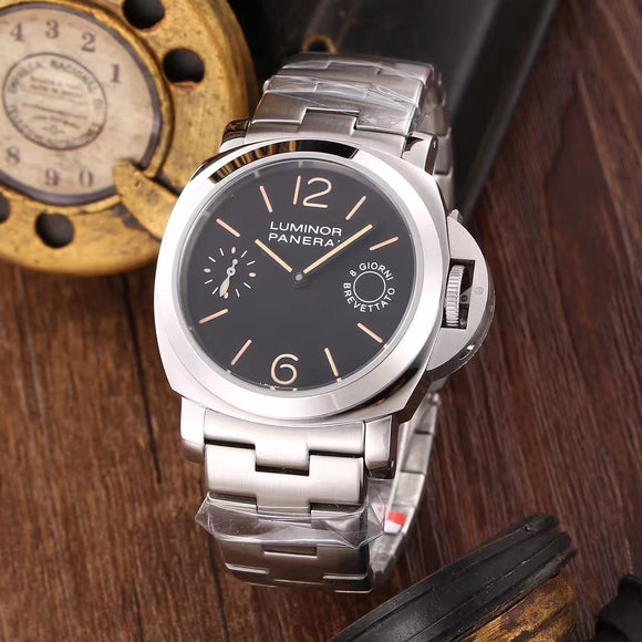Panerai 8 Giorni Brevettato Silver Stainless Steel Bracelet Luxury Men Watch