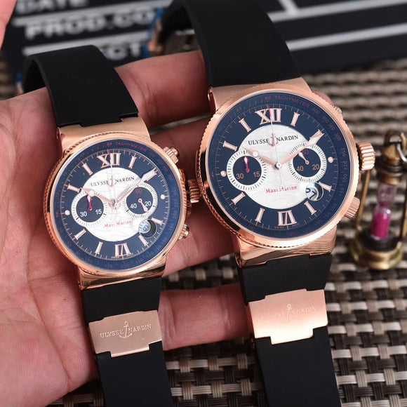 Ulysse Nardin Maxi Marine Men & Woman Gold Luxury 2 Watches Together