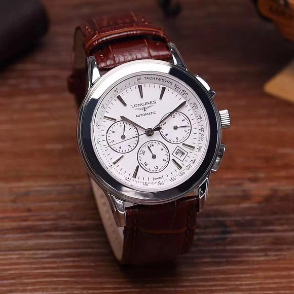 Longines Saint-Imier Chronograph Automatic Luxury Leather Band Men's Watch