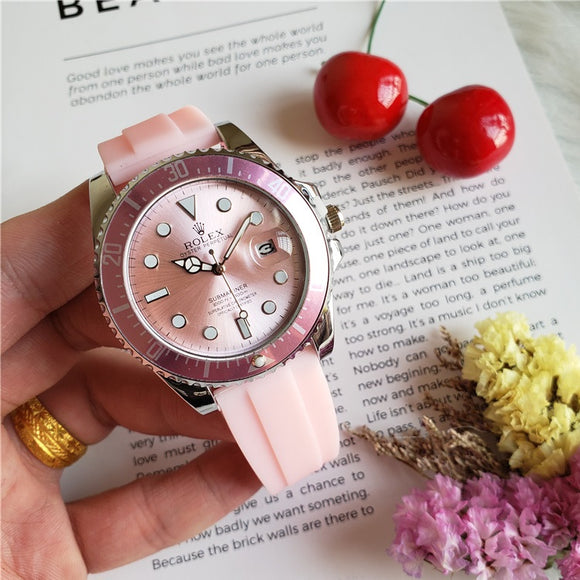 Rolex Oyster Perpetual Date Submariner Silver Pink Rubber Lady Watch