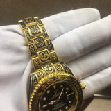 Rolex Yacht-Master Fully Hand Engraved Quartz Gold Case Men's Watch - My Watch Land