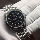 Rolex Datejust Silver Diamond Black Dial Luxury Men's Watch - My Watch Land