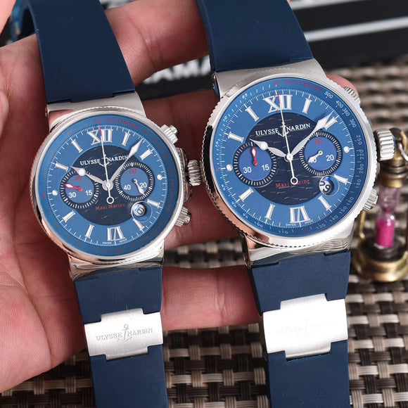 Ulysse Nardin Maxi Marine Men & Woman Silver Luxury 2 Watches Together