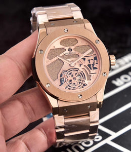 Hublot Classic Rose-Gold Stainless Steel 45 mm Men`s Mechanical Tourbillon Luxury Watch - My Watch Land