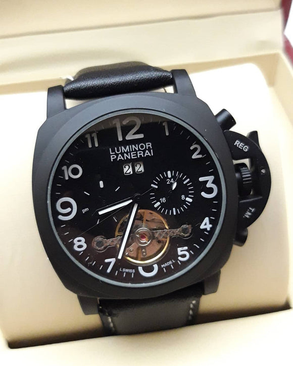 Panerai Luminor Black Case Black Dial Tourbillon Automatic Luxury Men's Watch - My Watch Land
