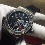 Hublot Classic Dark Grey Fusion Fuente 20th Anniversary Fully Hand Engraved Quartz Men`s Luxury Watch - My Watch Land