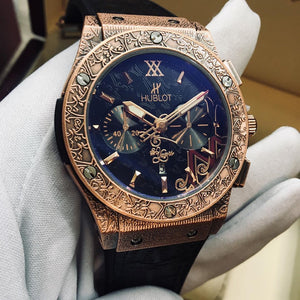 Hublot Classic Rose-Gold Fusion Fuente 20th Anniversary Fully Hand Engraved Quartz Men`s Luxury Watch - My Watch Land