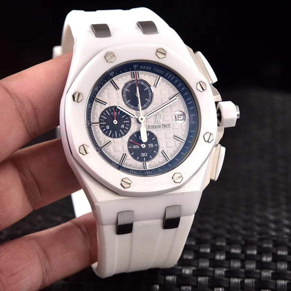 Audemars Piguet Royal Oak Offshore White Ceramic Luxury Men Watch