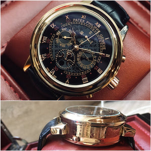 Patek Philippe Grandmaster Chime Gold Case Dual Side Engraved Men`s Mechanical Luxury Watch - My Watch Land