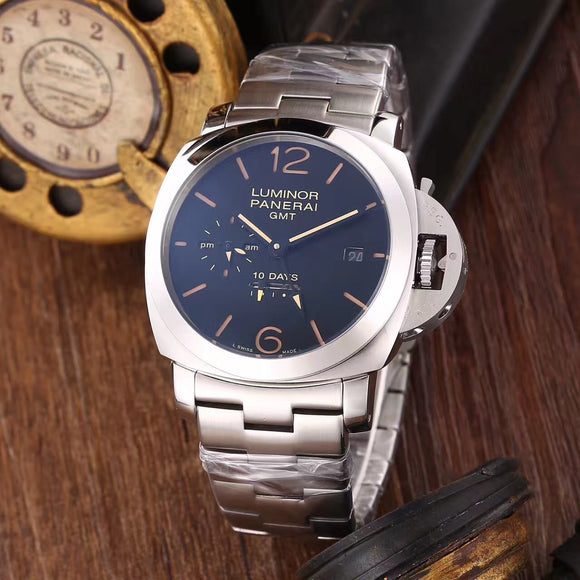 Panerai Luminor GMT 10 Days Silver Stainless Steel Bracelet Luxury Men Watch