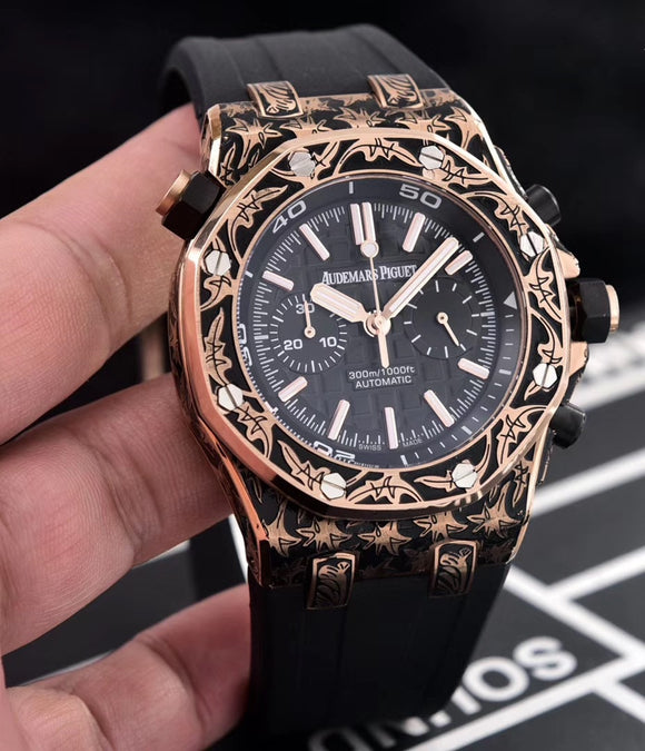 Audemars Piguet Royal Oak Offshore 43 mm Rose-Gold Hand Fully Engraved Men`s Quartz Luxury Watch - My Watch Land