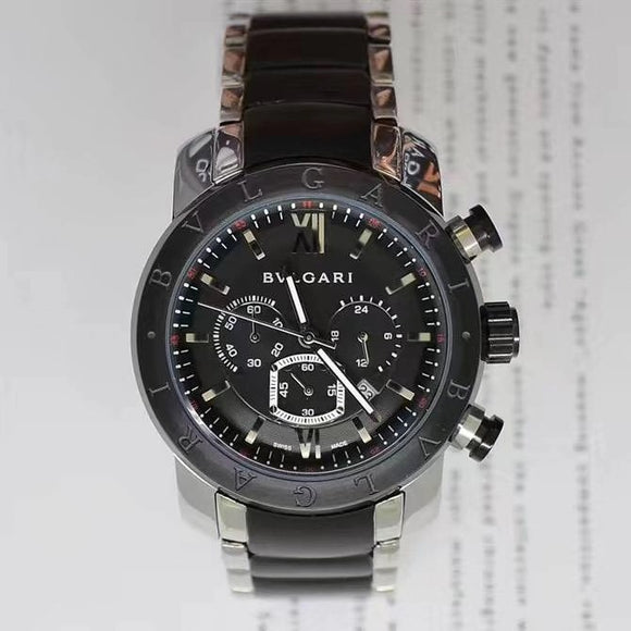 BVLGARI Nuclear Neapon Silver-Black 45 mm Men`s Quartz Luxury Watch - My Watch Land
