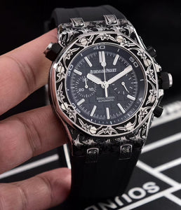 Audemars Piguet Royal Oak Offshore 43 mm Black Hand Fully Engraved Men`s Quartz Luxury Watch - My Watch Land