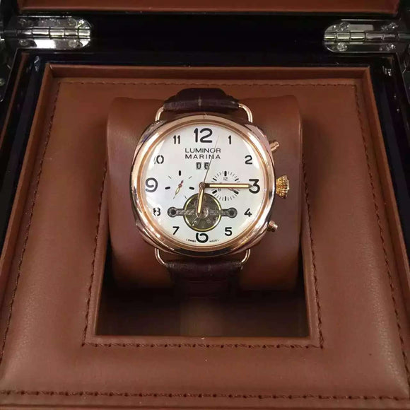 Panerai Luminor Marina Tourbillon Mechanical Gold Case Luxury Men Watch