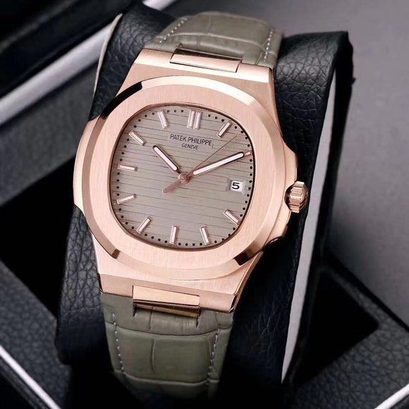 Patek Philippe Nautilus Gold Case With Leather Band Men's Luxury Watch - My Watch Land