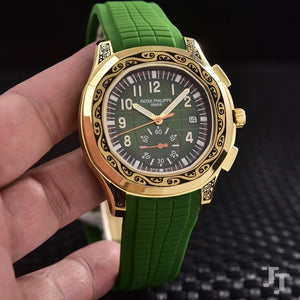 Patek Philippe Aquant Luce Hand Engraved Gold Green 42 mm With Rubber Band Mechanical Self-Wind  Luxury Men's Watch - My Watch Land