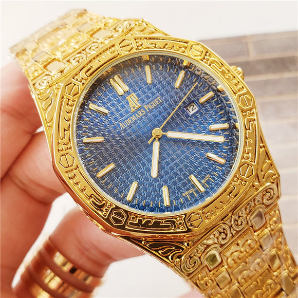 Audemars Piguet ROYAL OAK Gold Fully Hand Engraved Luxury Men`s Watch