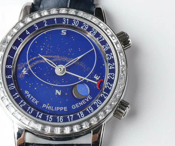 Patek Philippe 6102P Sky Moon Celestial Silver Diamonds Luxury Men Watch