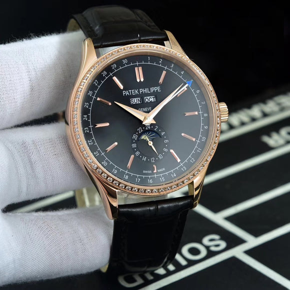 Patek Philippe Calatrava Moon Pashe Diamonds Luxury Men`s Watch