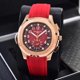 Patek Philippe Aquant Luce White, Red, Blue 41 mm With Rubber Band Mechanical Self-Wind  Luxury Men's Watch - My Watch Land