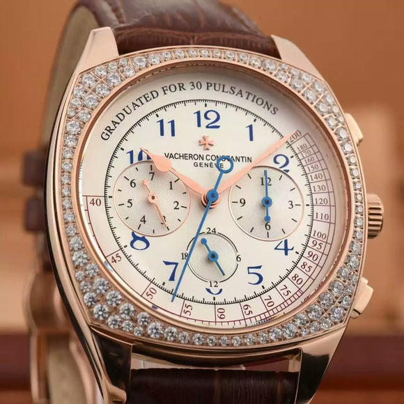 Vacheron Constantin Harmony Monopusher Chronograph Diamonds Rose-Gold Luxury men Watch