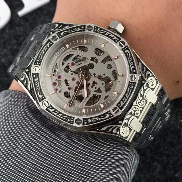 Audemars Piguet ROYAL OAK Silver Mechanical Skeleton Fully Hand Engraved Luxury Mens Watch