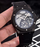 Hublot Classic Black Case with Leather Band 45 mm Men`s Mechanical Tourbillon Luxury Watch - My Watch Land